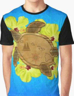 Honu Hawaiian Nautical Map Graphic T-Shirt