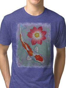 Koi and Lotus Tri-blend T-Shirt
