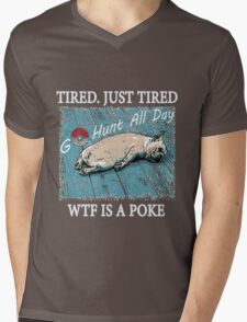 Dog After So Much Catch' Em All Poke T Shirt Mens V-Neck T-Shirt