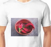 Hot red chili peppers on a fabric background Unisex T-Shirt