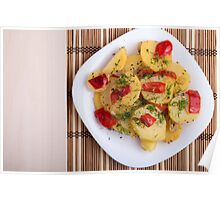 Top view of the pieces of potato stew with vegetables Poster