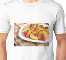 Closeup view on slices of potato on the wooden background Unisex T-Shirt