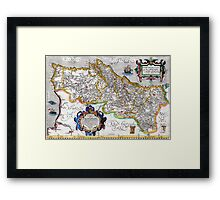 Ancient map of the Kingdom of Portugal - Ortelius Map of Portugal Framed Print