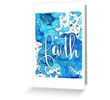 FAITH watercolor Blue Greeting Card