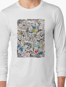 Fun Kamasutra Bodies Figures Doodle in Color Long Sleeve T-Shirt
