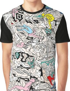 Fun Kamasutra Bodies Figures Doodle in Color Graphic T-Shirt