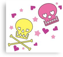 Lovely Skulls - Yellow and Pink Canvas Print