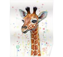 Baby Giraffe Watercolor Painting Poster