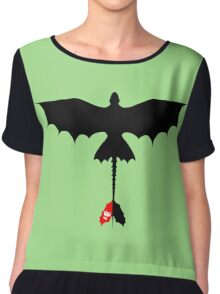 Toothless Silhouette Chiffon Top