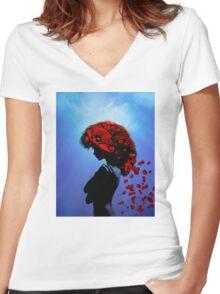Poppy girl Women's Fitted V-Neck T-Shirt
