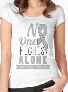 No One Fights Alone - Brain Cancer Awareness Women's Fitted Scoop T-Shirt