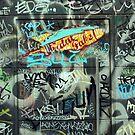 Graffiti on a door by sledgehammer