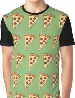 Pepperoni Slice Passion - Green Graphic T-Shirt