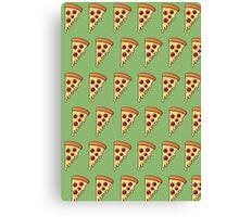 Pepperoni Slice Passion - Green Canvas Print