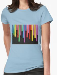 Red Yellow blue and Green strays Womens Fitted T-Shirt