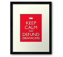 Keep Calm And Defund Obamacare Framed Print