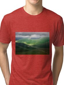 The hills of Castelluccio during a thunderstorm Tri-blend T-Shirt