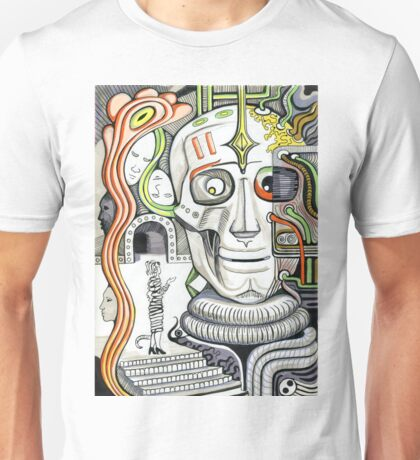 The head of giant cyborg.  Unisex T-Shirt