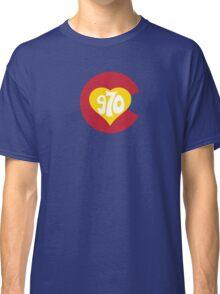 Hand Drawn Colorado Heart Flag 970 Area Code Classic T-Shirt