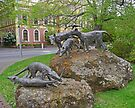 Thylacine statues, Launceston, Tasmania, Australia by Margaret  Hyde
