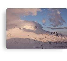 Sunset in the Sibillini Mountains and moon Canvas Print