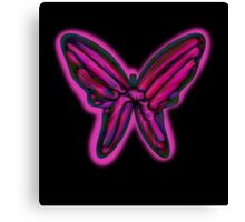 Pink neon butterfly Canvas Print