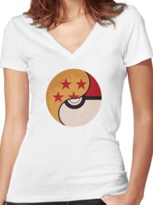 Pokemon DragonBall Fusion  Women's Fitted V-Neck T-Shirt