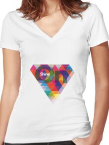 SHINE ON Women's Fitted V-Neck T-Shirt