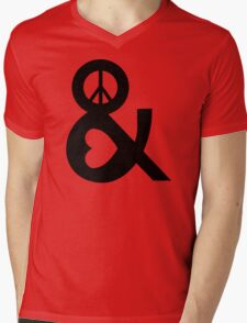 PEACE AND LOVE Party Heart Tee No War Stoner Hippie sign Ladies Symbol Mens V-Neck T-Shirt