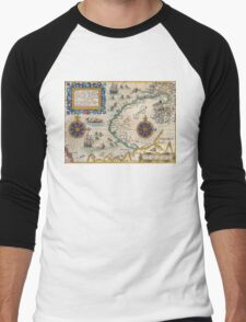 Map of the North East Passage - 1601 by Theodore de Bry Men's Baseball ¾ T-Shirt