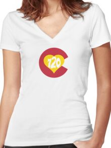 Hand Drawn Colorado Heart Flag 720 Area Code Women's Fitted V-Neck T-Shirt