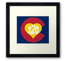 Hand Drawn Colorado Heart Flag 720 Area Code Framed Print