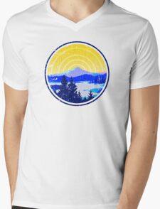 Vintage Golden Mountain Sunrise Mens V-Neck T-Shirt