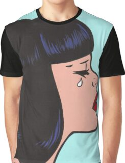Black Bangs Crying Comic Girl Graphic T-Shirt