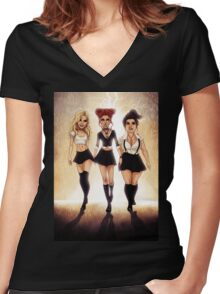 We are the weirdos, sistahs! Women's Fitted V-Neck T-Shirt
