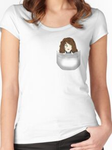 Pocket Chibi Design Women's Fitted Scoop T-Shirt