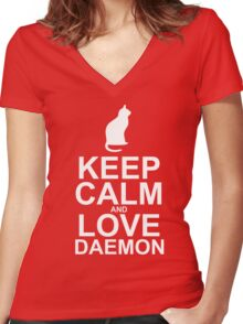 Keep Calm and Love Daemon Women's Fitted V-Neck T-Shirt