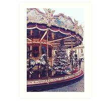 Vintage Christmas Carousel  Art Print