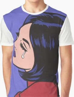 Black Hair Crying Comic Girl Graphic T-Shirt