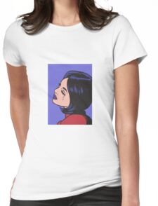 Black Hair Crying Comic Girl Womens Fitted T-Shirt