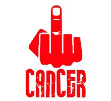 Fuck Cancer Middle Finger RED Photographic Print