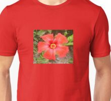 Head On Shot of a Red Tropical Hibiscus Flower Unisex T-Shirt