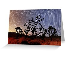 Star trails over Mojave National Preserve Greeting Card