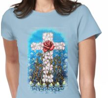 Cross of Flowers Womens Fitted T-Shirt