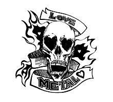 Metalhead Skull Love Photographic Print
