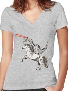 Raptor & Unicorn Women's Fitted V-Neck T-Shirt