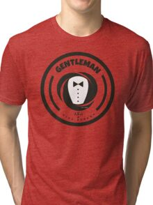 Gentleman and a Nice Person Funny Tuxedo Vintage Logo  Tri-blend T-Shirt