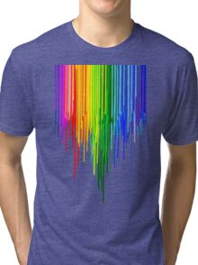 Rainbow Paint Drops on White Tri-blend T-Shirt