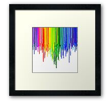 Rainbow Paint Drops on White Framed Print