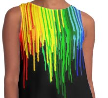 Rainbow Paint Drops on Black Contrast Tank